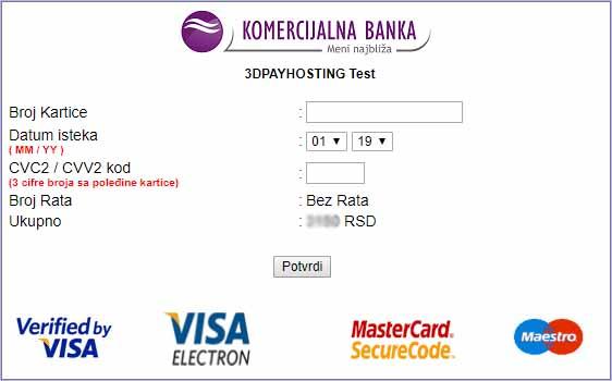 Zaštićena stranica za naplatu Komercijalne banke